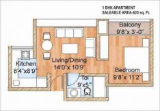 1 BHK+1T (660 sq ft apartment )