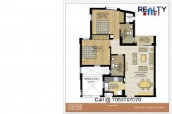 2 bhk + 2t  Smplex(1177 sqft) Floor Plan