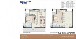 2 bhk + 2t  Duplex(1045 sqft) Floor Plan