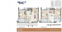 3 bhk+ 3t Duplex(1570 sqft) Layout