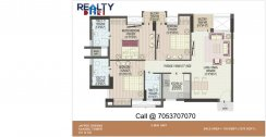 3 bhk+ 3t Simplex C1-C2 Towers(1570 sqft) Layout