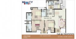 3 bhk+ 3t + servant Simplex C1-C2 Towers(1535 sqft) Layout