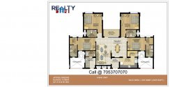 4 bhk+ 4t + servant B3-B4 Towers(2450 sqft) Layout