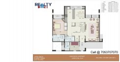 4 bhk+ 4t + servant A1-A6 Towers Duplex(2450 sqft) Layout LOWER FLOOR