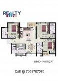 3 bhk (1450 sq ft)layout kpa apartments in jaypee