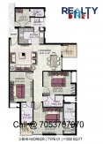 3 bhk+servant (1500 sq ft)layout kpa apartments in jaypee