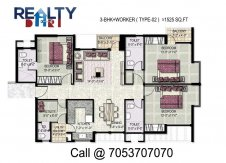 3 bhk +servant(1525 sq ft)layout kpa apartments in jaypee