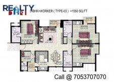 3 bhk +servant(1550 sq ft)layout kpa apartments in jaypee
