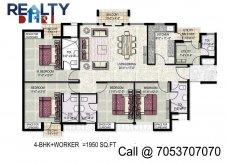 4 bhk +servant(1950 sq ft)layout kpa apartments in jaypee