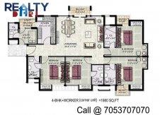 4 bhk +servant(1980 sq ft)layout kpa apartments in jaypee