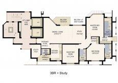 3 bhk + study floor plan(2130 sq ft) star court