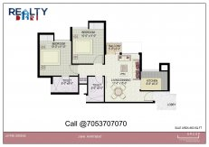 2 bhk + 2t (942) Floor Plan