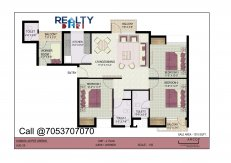 3 bhk+ 2t + servant(1410 sqft) Layout