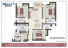 3 bhk+ 3t + servant(1570 sqft) Layout