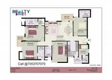 4 bhk+ 4t + servant(1870 sqft) Layout